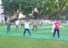 मुकन्द लाल नैशनल कॉलेज के प्रांगण में चौथे अर्तराष्ट्रीय योग दिवस के अवसर पर योगा