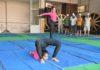 यमुनानगर के डीएवी गर्ल्स कॉलेज में योगाभयास करती छात्राएं