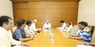रेल मंत्री],श्रम मंत्री, एवं भाजपा अध्यक्ष के साथ बैठक करते बीएमएस व बीआरएएस पदाधिकारी