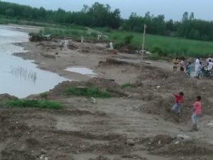 बेलगढ में पटडी के किनारे से छूकर निकलता यमुना का पानी