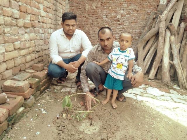 सैनी महौल्ला रादौर निवासी संदीप सैनी बेटे के जन्म दिवस पर पौधारोपण करते हुए।